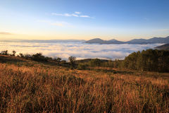 Morning fog in the Wasatch Mountains. Royalty Free Stock Images