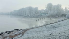 Morning fog in winter. Quiet misty morning on the river stock footage