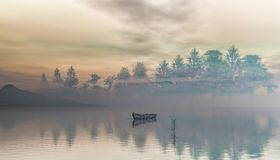 Morning foggy lake landscape. Boats on the lake with the rising sun in the background.3d renderng. Beautiful morning foggy lake landscape. Boats on the lake with Stock Photo
