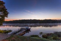 Morning foggy landscape of Nemunas river royalty free stock photos