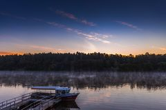 Morning foggy landscape of Nemunas river royalty free stock photography