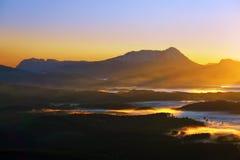 Morning fogs over Urkiola at sunrise Stock Images