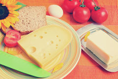Morning food of Mediterranean. Toned colors vintage photo Stock Image