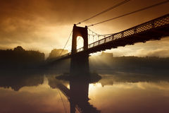 Morning footbridge Royalty Free Stock Image