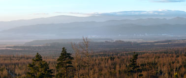 Morning in foothills. Panorama. Royalty Free Stock Images