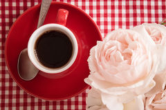 Morning fragrance: coffee and flowers, detail. Morning fragrance: fresh coffee and beautiful flowers, detail Stock Photos