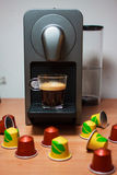 Morning fragrant coffe with coffe machine royalty free stock images