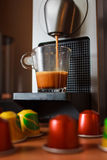Morning fragrant coffe with coffe machine. stock image
