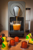 Morning fragrant coffee with capsules royalty free stock image
