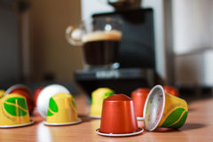 Morning fragrant coffee with capsules stock photo