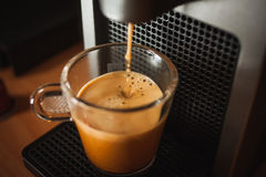 Morning fragrant coffee with coffe machinee stock photography