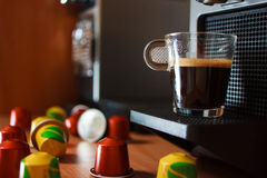 Morning fragrant coffee with coffee machine royalty free stock image