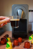 Morning fragrant coffee with coffee machine. royalty free stock photo