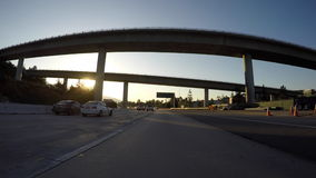 Morning freeway bridges Los Angeles stock video footage