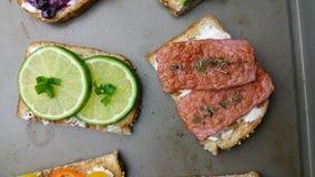 Morning fresh lime bread, ham and cream bread breakfast tray stock photos