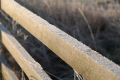 Morning frost of cold winters day. Sharp morning frost on wooden fence in field , rural Cambridgeshire Royalty Free Stock Image
