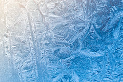 Morning frost patterns on the window Stock Photo