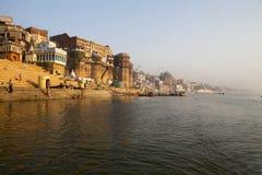 MORNING AT THE GANGES RIVER. VARANASI INDIA. MORNING AT THE HOLY GANGES RIVER IN VARANASI - INDIA stock photo