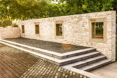 Morning garden landscape wall. Garden effect: landscape wall and floor with cultural stone,terrace with steps Stock Photo