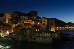 Morning in Genoa Boccadasse. Houses of Genoa Boccadasse during the sunrise Royalty Free Stock Photography