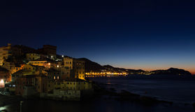 Morning in Genoa. Houses of Genoa during sunrise Stock Photos