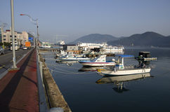 Morning Geojie island town center docked boats Stock Images