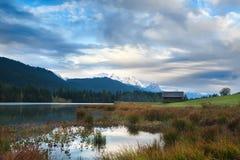 Morning on Geroldsee lake and Karwendel mountains Stock Image