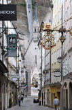 Morning Getreidegasse (street) in Salzburg Stock Image