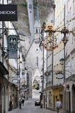 Morning Getreidegasse (street) in Salzburg Stock Image