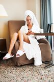 Morning girl after bathing Royalty Free Stock Photos