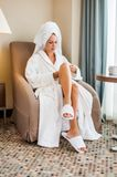 Morning girl after bathing Royalty Free Stock Images