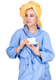 Morning girl in bathrobe drinking coffee Royalty Free Stock Images