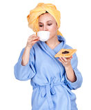 Morning girl in bathrobe drinking coffee Stock Photos