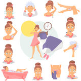 Morning girl hygiene color flat icons set. Girl awakening illustration for web and mobile design Royalty Free Stock Photos