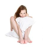 Morning girl with pillow Stock Photo