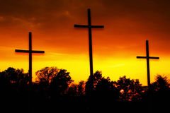 Morning glory three christian crosses Stock Image
