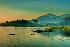 Morning Glory. Rawa Pening Lake,a beautiful Lake,surrounded by 5 mountans Royalty Free Stock Photography