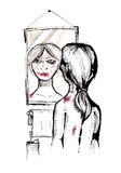 Morning glory. Female person looking herself at the mirror filled with bruises Royalty Free Stock Image