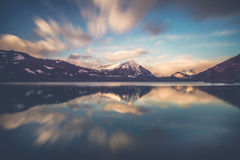 Morning glory. Beautiful sunrise ober the lake thun in Switzerland Stock Photos