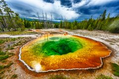 Morning glory pool. From above. Stormy weather. Yellowstone National Park, Wyoming, USA royalty free stock photography