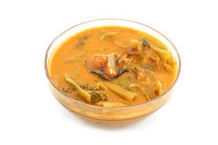 Morning glory in sour red curry with salted fish Stock Photos