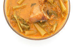 Morning glory in sour red curry with salted fish Stock Image