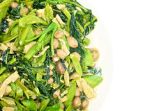Morning glory and spinach fried with groundnut vegetarian food Royalty Free Stock Photo