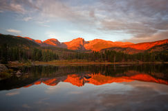 Morning Glow on Sprague Lake. Beautiful alpine glow on Hallet Peak and the Continental Divide. The mountains reflect in Sprague Lake. This beautiful lake is Royalty Free Stock Photography