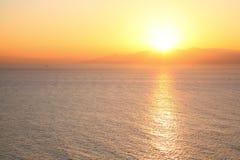 Morning glow of Suruga Bay. Shizuoka, Japan Royalty Free Stock Image