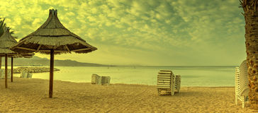 Morning at golden beach of Eilat Stock Photography