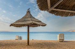Morning at golden beach of Eilat Royalty Free Stock Images