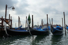 Morning gondola on a canal in central Venice, Itali Stock Photography