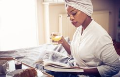Morning with good book. stock photo