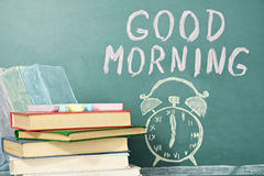 Morning. Good morning! Chalk drawing of books, alarm clock and writing wish. Education concept vector illustration
